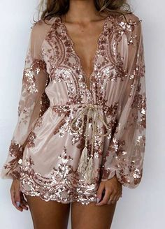 64efaa410d8 Nude Sequin Playsuit for New Year s Eve