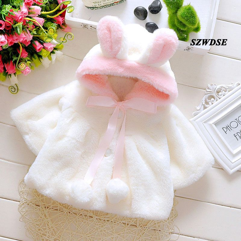 5f84334e4 NEW Baby Autumn Winter warm tops soft Plush rabbit-ear hoodies ...