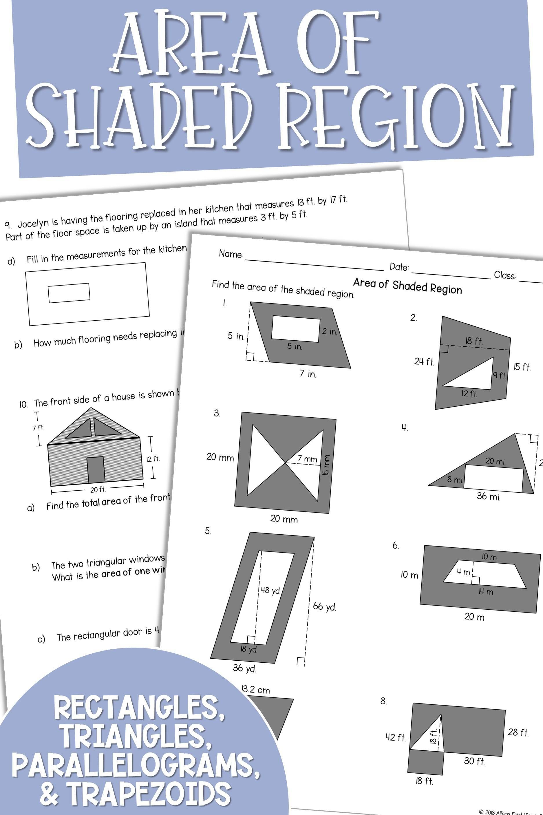 14 Problems Asking Students To Evaluate The Area Of Shaded Figures Consisting Of Polygo Middle School Math Resources Maths Area Middle School Math Lesson Plans