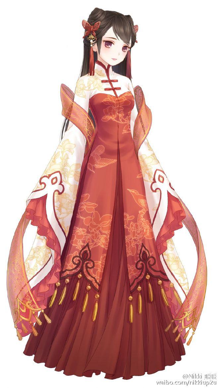 Аниме девушки в китайских платьях