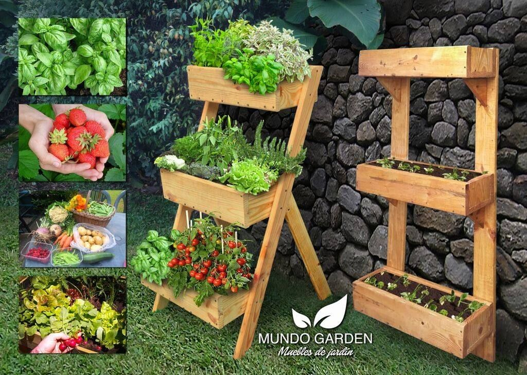Huerta urbana vertical en madera reutilizada mundo garden for Jardin vertical mercadolibre