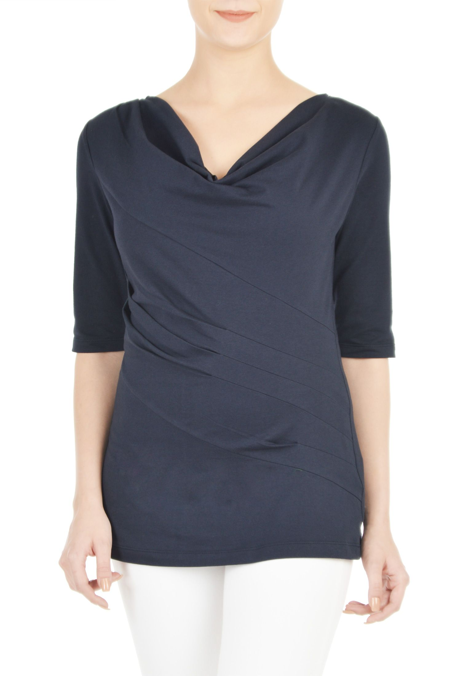 1ab35d97a95ad Our cotton jersey knit top features a cowl neck and draped pleats to the  side seam for an easy look.