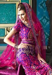 Magenta Royal Blue Net Wedding Wear Designer Lehnga Choli