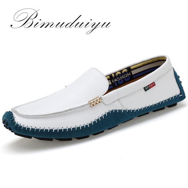 6ac39fdb6ef BIMUDUIYU Tamaño Grande de Alta Calidad de Los Hombres de Cuero Genuino  Zapatos Mocasines Moda Suave Hombres de la Marca Pisos Comfy Casual  Conducción ...