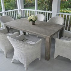 Gray Wood Stain Elegant Outdoor Furniture Traditional Patio