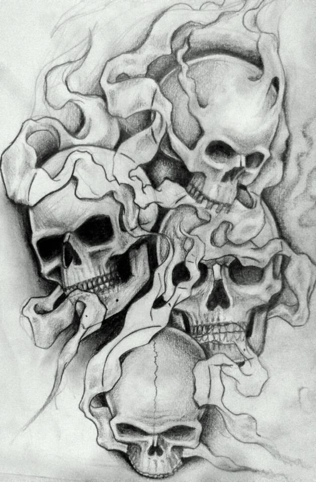 d0e11dc94 Smokey skulls 2 by 76Bev on deviantART: | SKULL TATTOOS | Skull ...