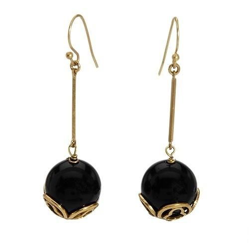 Terrific Earrings    With Simulated Gems    Terrific earrings with simulated gems beautifully crafted in yellow base metal. Total item weight 7.0g. Length 49mm. Gemstone info: 2 simulated gems with fancy shape and black color.