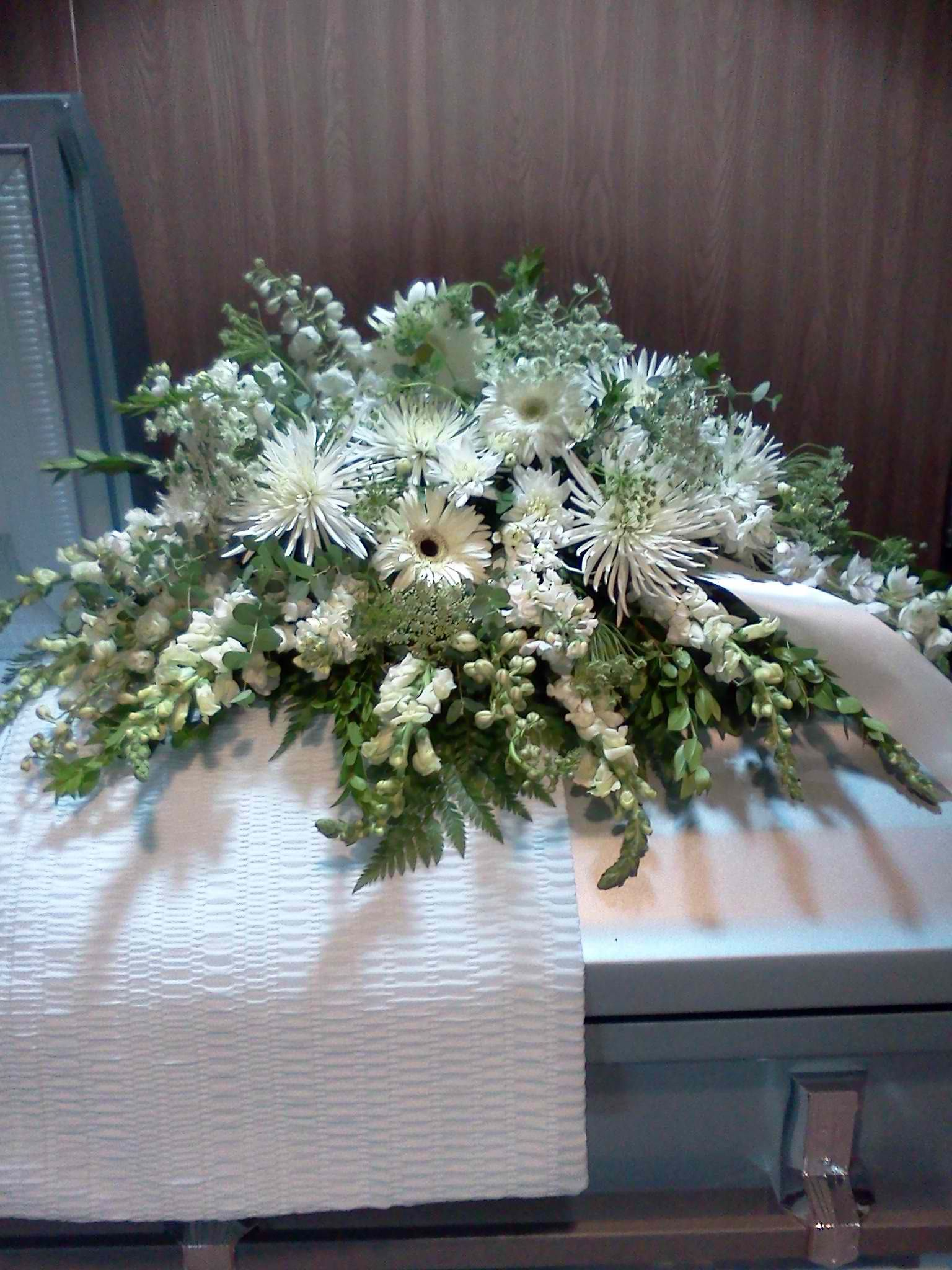 White casket spray the gerbers daisy florist boutique white casket spray funeral bouquet funeral flowers casket flowers funeral caskets funeral izmirmasajfo