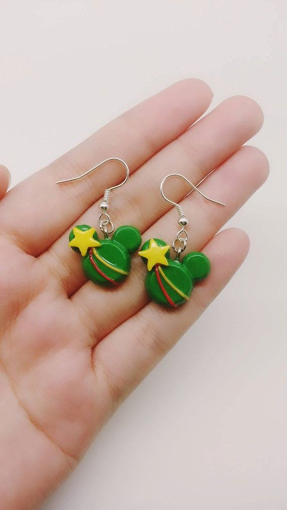 50c2c65268503 Christmas Tree Inspired Mickey Mouse Head Earrings - Polymer Clay ...