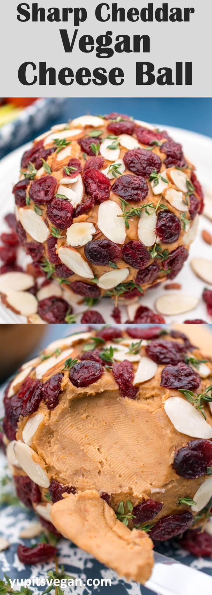Smoky Vegan Cheese Ball Made With Cashews Coconut Oil And Savory Seasonings Decorated With Dried Cranberries An Vegan Christmas Recipes Vegan Cheese Recipes