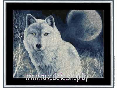 Белый волк схема вышивки крестом