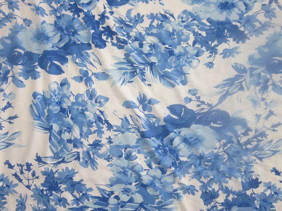 e228160162e Blue & White Floral Print Jersey Knit Fabric by the Yard Blue/White Flower  Print Spandex Rayon Jerse