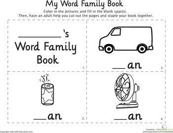 An word family printable book