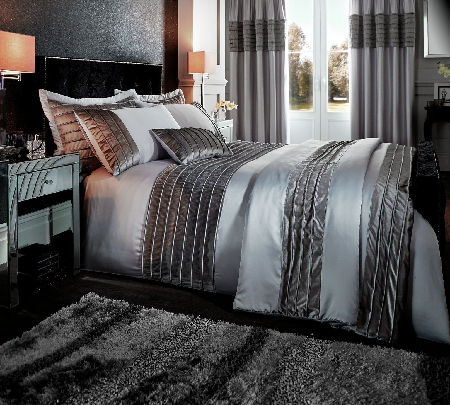 Buy Catherine Lansfield Corded Velvet Grey Duvet Set  Double