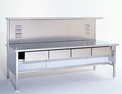 Work Station 304 Stainless Steel Solid Top W Outlets Shelf And Drawers 72 W X 34 D X 50 H Stainless Steel Work Table Workstation Shop Fittings