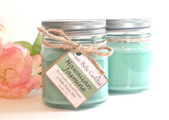 Hawaiian Jasmine Mason Jar Candle Scented Soy Pikake Candles Etsy Etsy Candles Scented Mason Jar Candles Scented Candle Jars