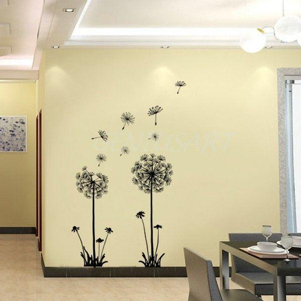 Dandelion Flower Decals Home Decor Removable Art Mural Vinyl Wall ...