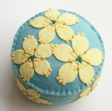Baby Blue Pincushion with Yellow Flowers by TheDailyPincushion, $28.00