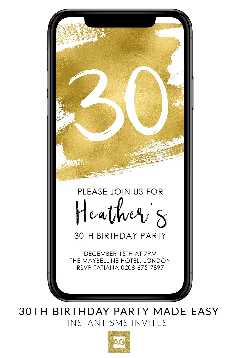 Gold Electronic Birthday Invitation Event Invite Editable Template Digital Cell Phone SMS