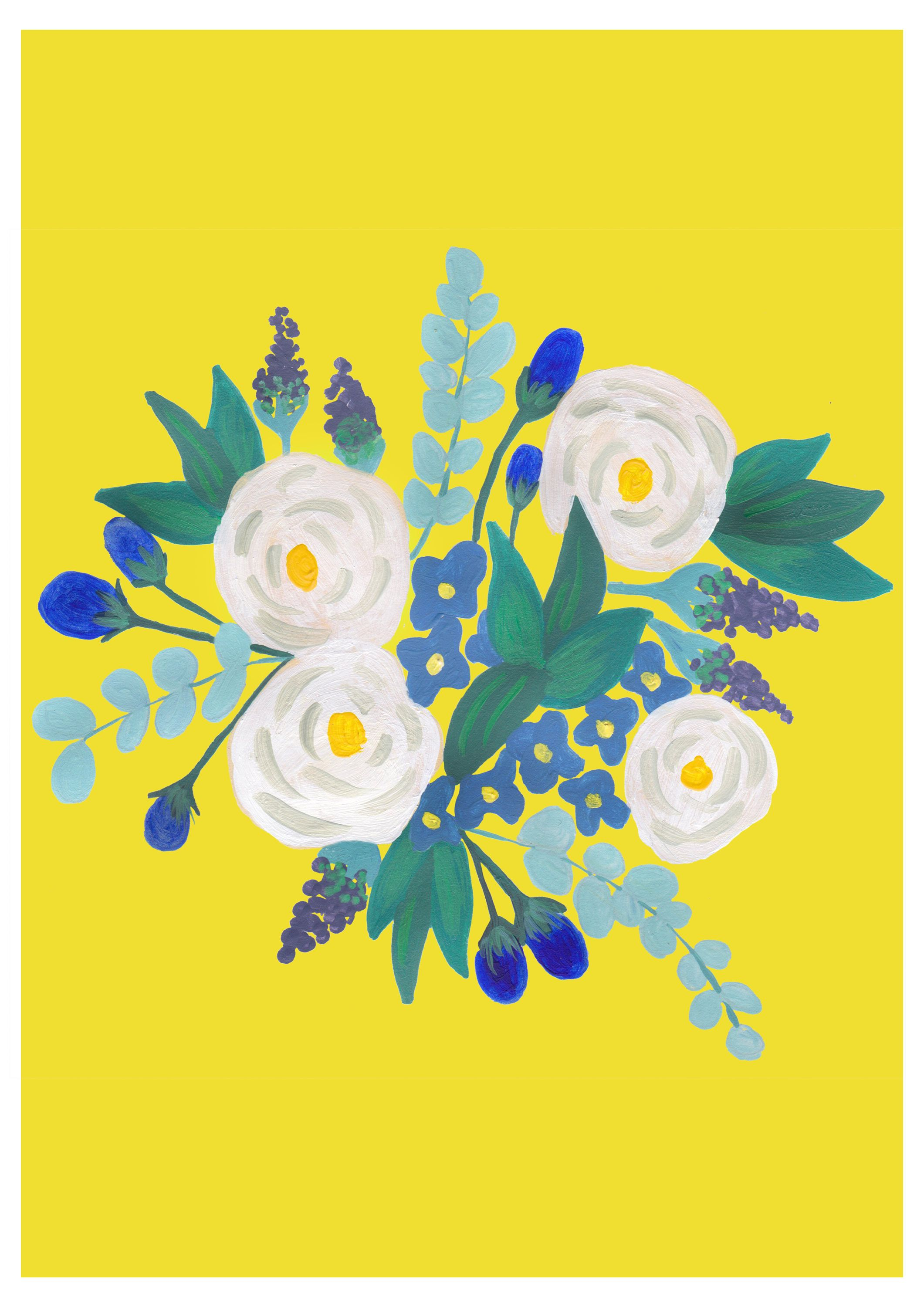 Bouquet of Flowers Print - Flower illustration - A colourful poster ...