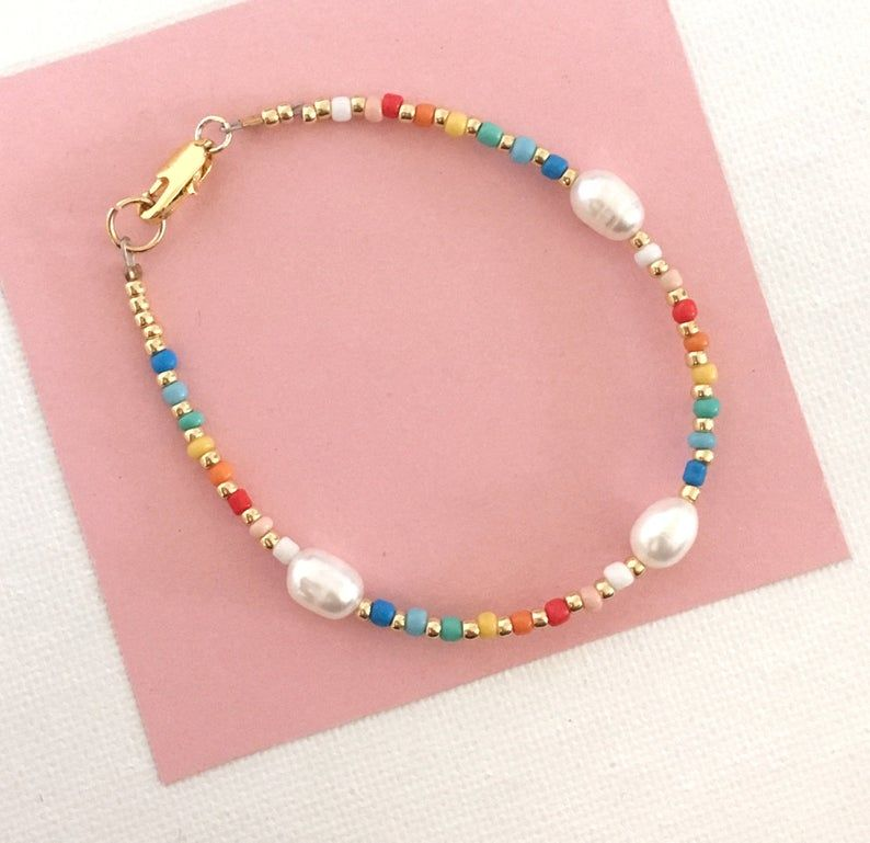 Photo of Rainbow Pearl bracelet/Freshwaterpearl and seedbeads/colour mix and pearl bracelet/Sea Pearl bracelet/freshwaterpearl bracelet/Pearl jewelry