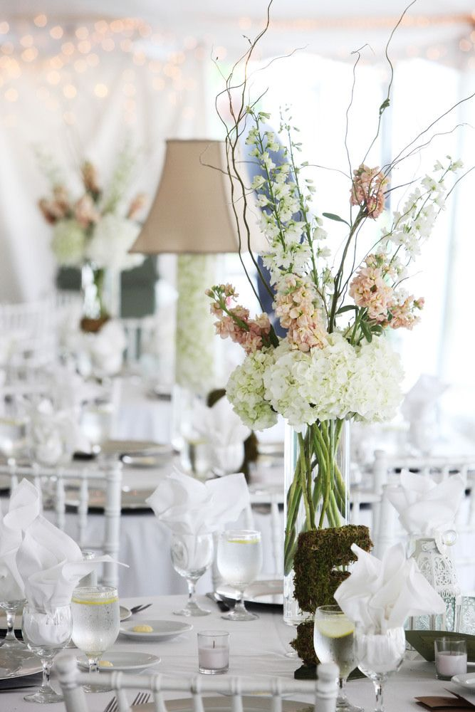 Blush colored stock white hydrangeas and