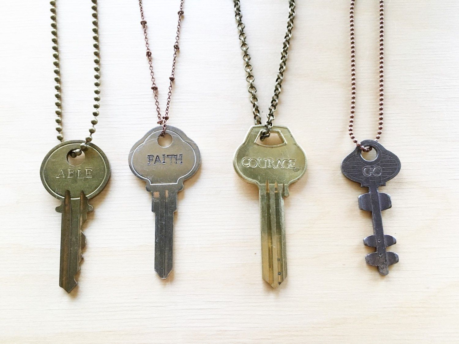 engraved key hand stamped key necklace stamped key personalized
