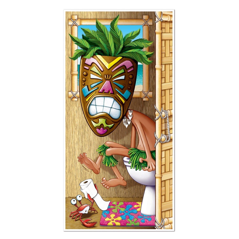 Hawaiian Luau Party Supplies Tiki Man Restroom Toilet Door Cover Decoration