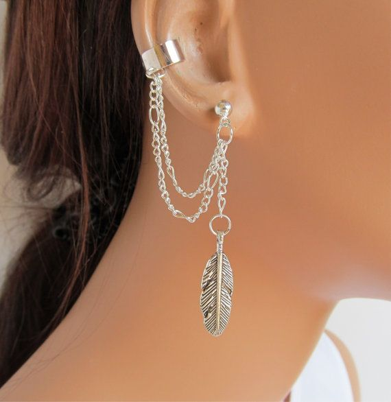 Ear Cuff Earrings Silver Double Chain Large Feather Gift Under 15