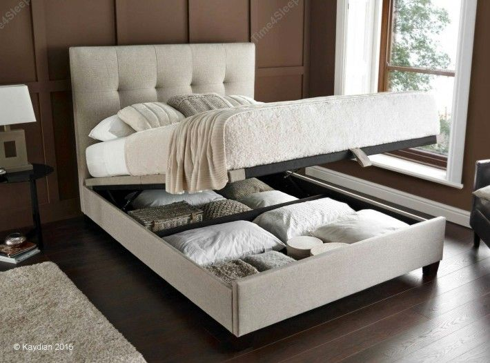 Kaydian Walkworth Ottoman Storage Bed - Oatmeal Fabric - Ottoman ...