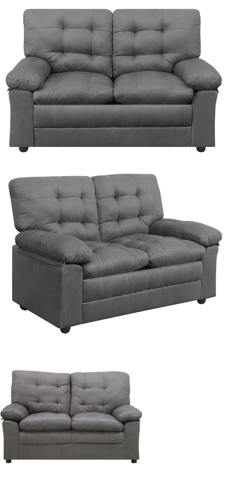 Sofas Loveseats And Chaises Gray Microfiber Loveseat Living
