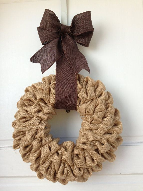 Tan light brown burlap wreath with dark brown burlap bow for Burlap wreath with lights