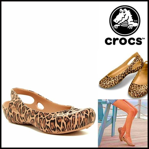 CROC SANDALS Slip On Leopard Flats