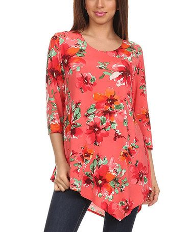 09981cb9 Love this Coral & Red Floral Asymmetric-Hem Tunic - Women & Plus on #zulily!  #zulilyfinds