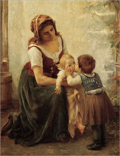 This Kiss [Mother and Children] -- by Timóleon Marie Lobrichon (French, 1831--1914)