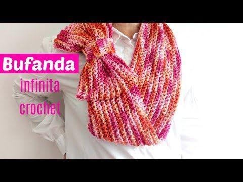 Bufanda infinita a crochet con super moño - YouTube | Cuellos ...