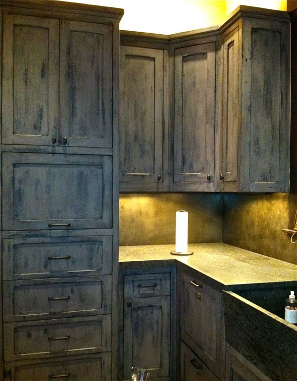 Distressed Grey Kitchen Cabinets Faux Finishing And