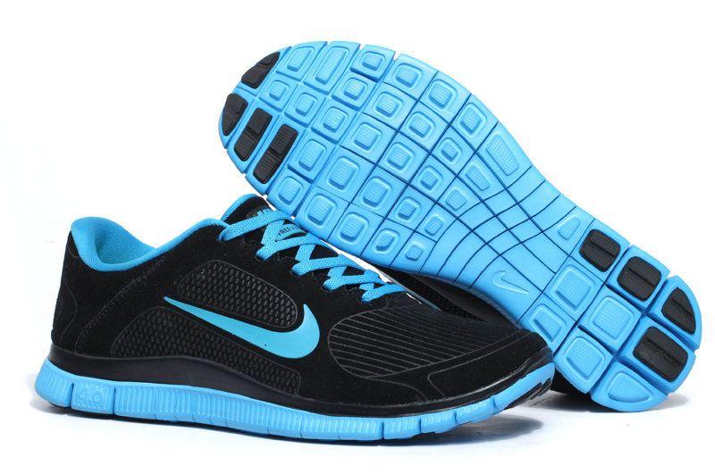 Black Blue Glow Nike Free 40 V3 Suede Mens Running Shoes