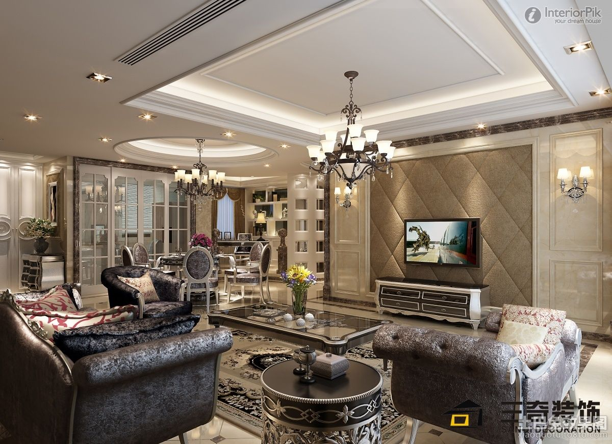 Stylish Modern Luxury Living Room On Apartments With Decoration Pictures Tv