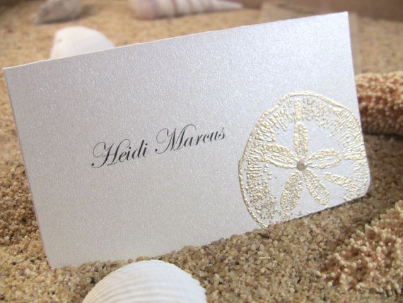10 Golden Wedding Place Cards Embossed Guest Info Printed Sand