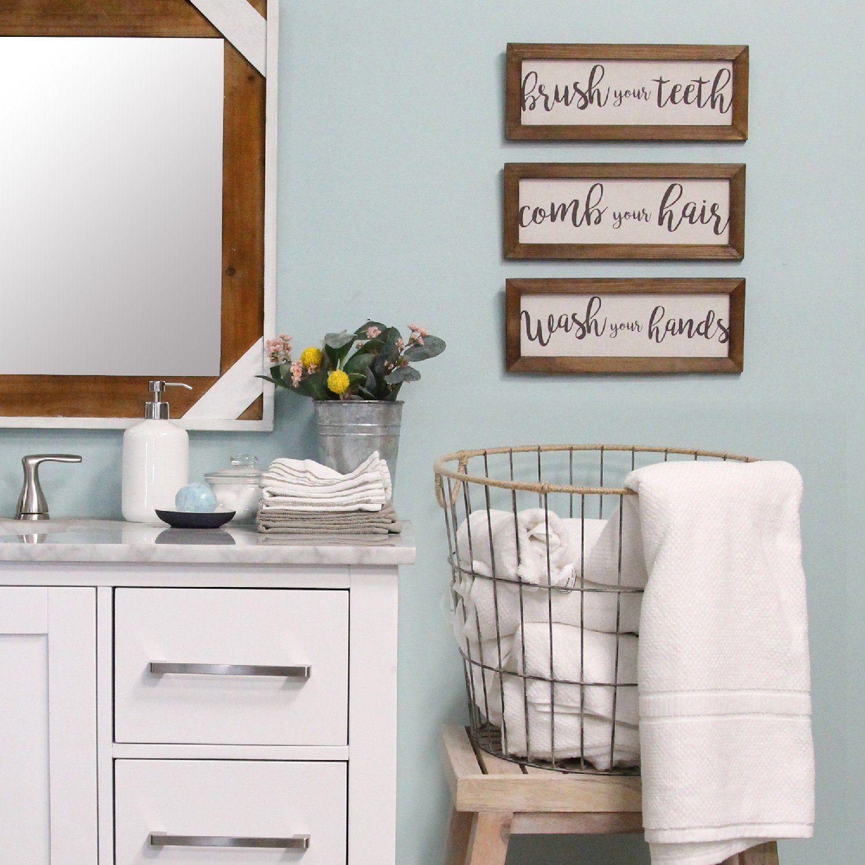 Photo of Set of 3 Linen Bathroom Rules Wood Framed Wall Art
