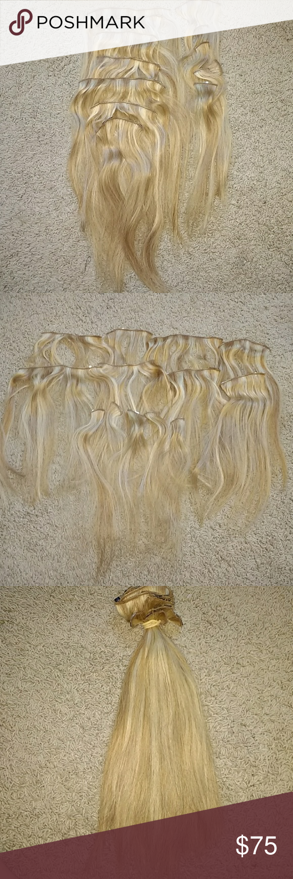 Lt Blonde Verigated Human Hair Clip In Extensions