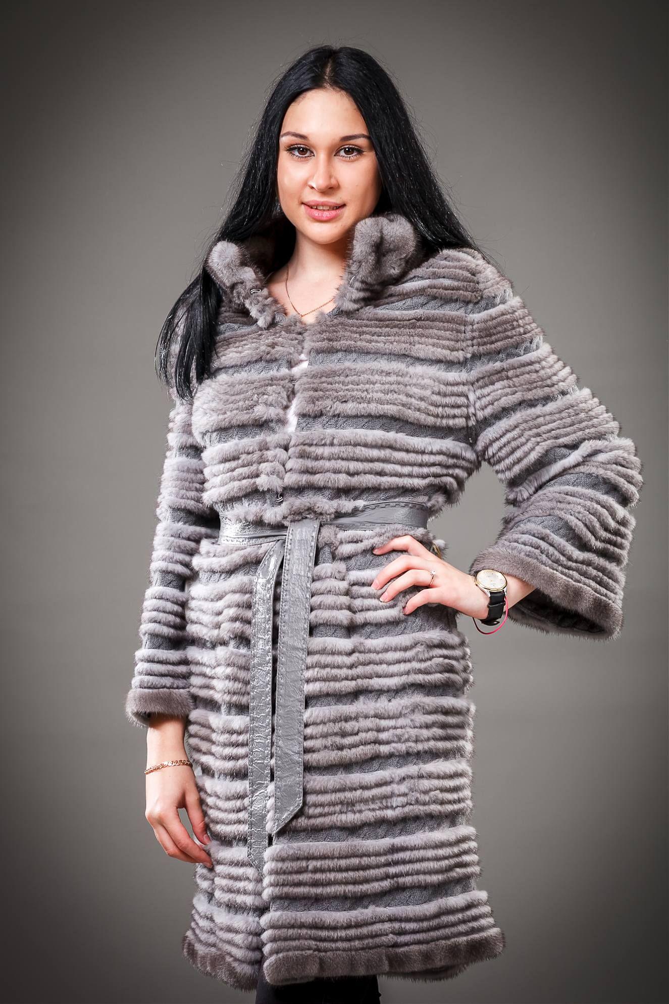 двустороннее пальто из меха серой норки комбинированной с кашемиром ... eae3961d92367