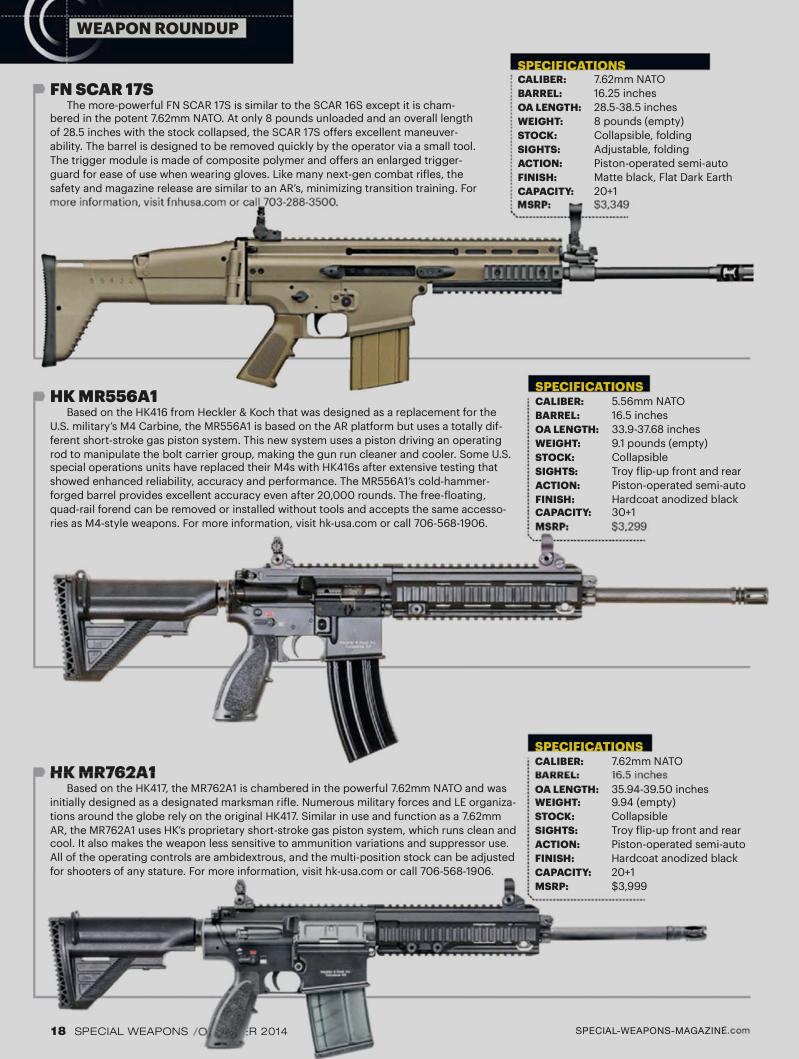 Weapons,FN SCAR 17S , HK MR556A1 , M4 , CARBINE , MR762A1