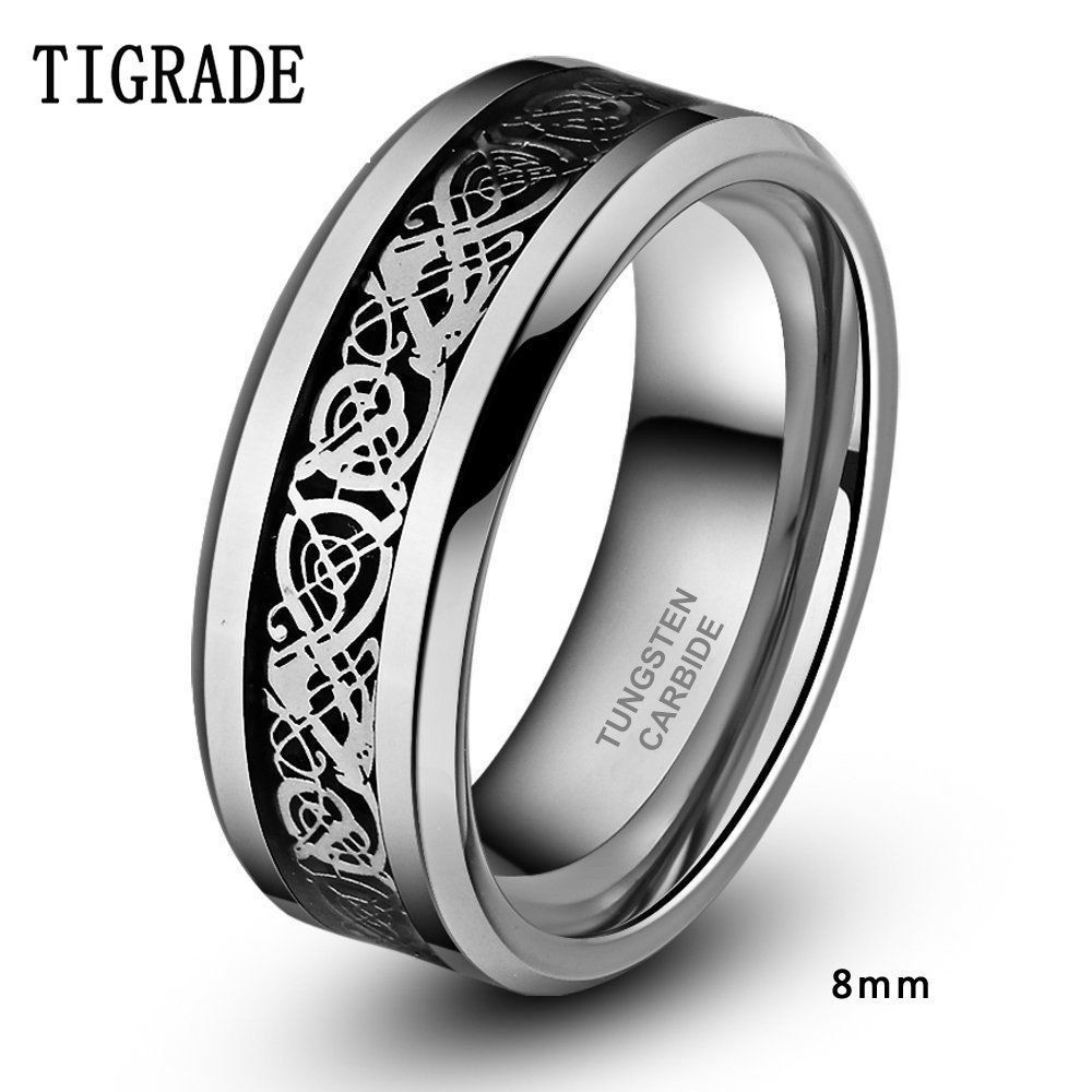 JewelryWe 8mm Celtic Dragon Inlay Tungsten Carbide Ring Men's Anniversary/Engagement/Wedding Band BHhc92T9