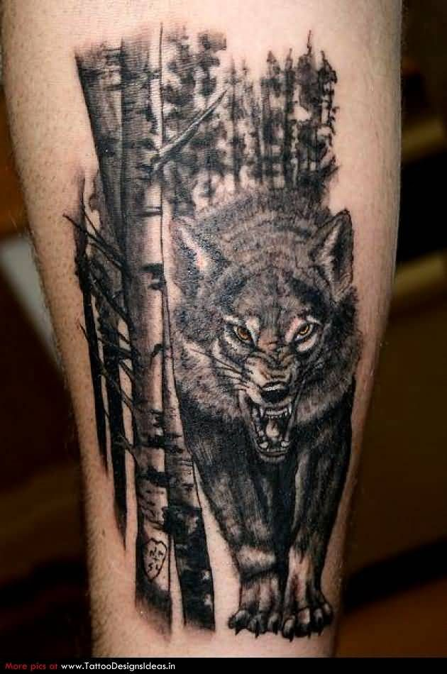 Angry Wolf And Bamboo Forest Tattoo On Sleeve Tats Pinterest