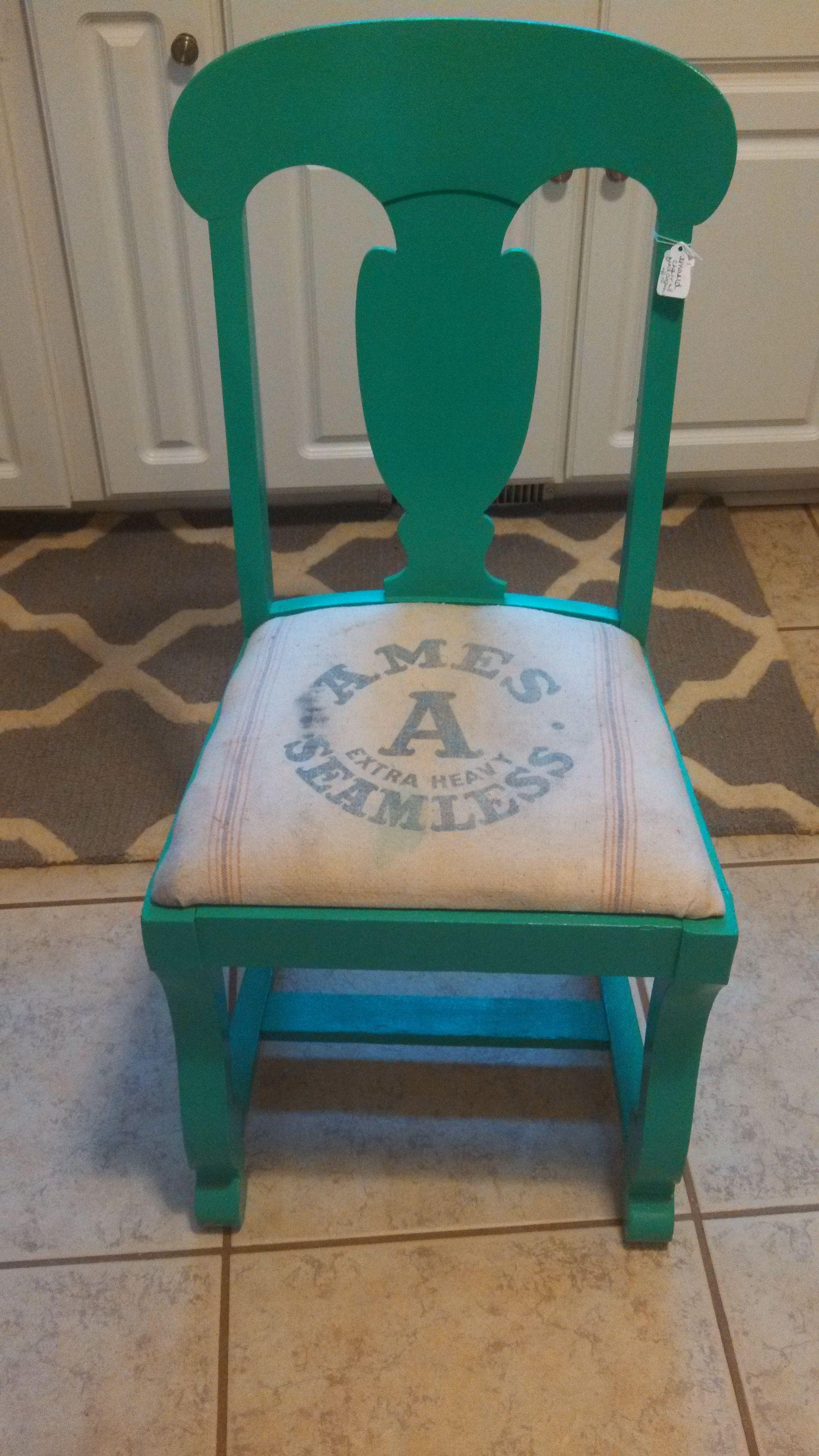 Feed Bag Chair Cushion: American Honey Repurposed Furniture, Kalamazoo MI