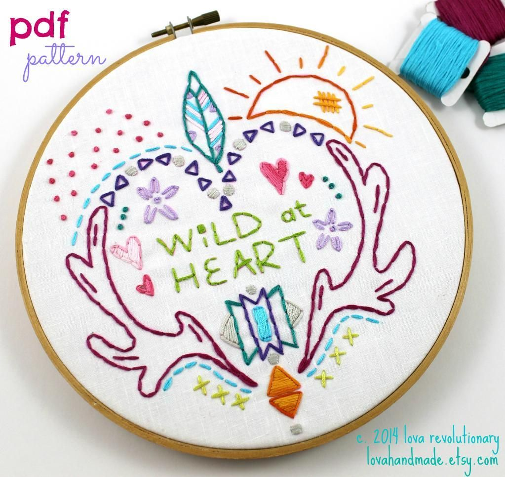 Wild at heart hand embroidery pattern hand embroidery patterns