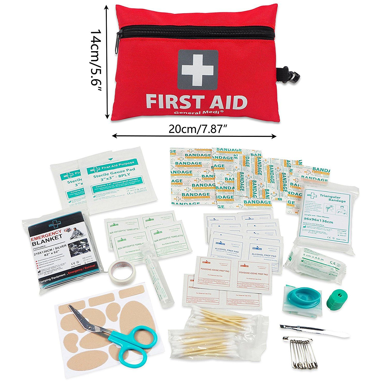 Mini First Aid Kit 92 Pieces Small First Aid Kit Includes Emergency Foil Blanket Cpr Face Mask Scissors Mini First Aid Kit First Aid Kit Travel First Aid Kit