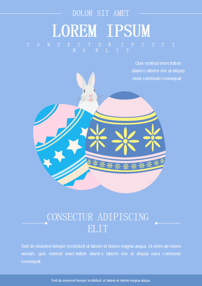 The Easter Holiday Flyer Features A Simple Blue Background And An Easter Bunny In The Center Behind Two Colorful Egg Holiday Flyer Template Holiday Flyer Flyer